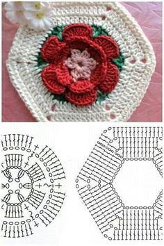 46 Ideas Crochet Granny Square Hexagon For 2019 Crochet Motifs, Crochet Blocks, Granny Square Crochet Pattern, Crochet Flower Patterns, Crochet Diagram, Crochet Stitches Patterns, Crochet Chart, Crochet Squares, Crochet Designs