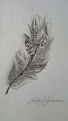 """Feather I sketched to honor my mom's fight against breast cancer. I plan on getting it tattooed with the """"watercolor look"""" with pinks, purples, and soft teals & blues."""