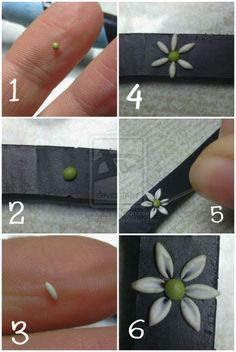 """My first mini tutorial- How I do it! """"My first mini tutorial- How I do it!"""" – Making a tiny daisy out of polymer clay as accent on Fimo Polymer Clay, Crea Fimo, Polymer Clay Flowers, Polymer Clay Projects, Polymer Clay Creations, Polymer Clay Jewelry, Clay Crafts, Diy And Crafts, Polymer Clay Embroidery"""