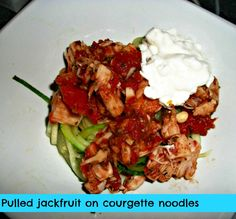 Looking for a #vegan pulled pork recipe?  Try pulled #jackfruit in a bun on over noodles
