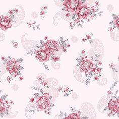 Papel de Parede Floral com Arabesco em Tons de Rosa - Papel de Parede Digital