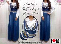 Maxi Antonietta Ruffles Jeans Wash Ornament Payet 1100 R448, Ready Stock, Untuk pemesanan dan informasi silahkan hubungi Admin di:  HP/WhatsApp: 085259804804