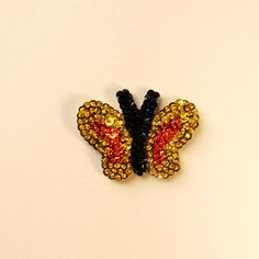 Glass beaded small Butterfly magnet by Crystalscraftycorner, $6.00