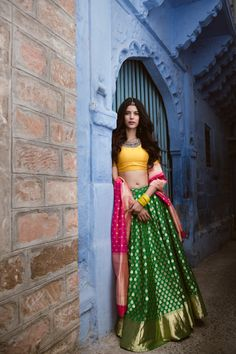 Latest Simple Unique shine green and yellow lehenga choli for indian bridal.For order WhatsApp on combinations bridal wedding ideas kids for girls simple combinations wedding ideas wear girl combinations party wear teens Mehndi Outfit, Sangeet Outfit, Lehenga Designs, Half Saree Designs, Blouse Designs, Indian Lehenga, Lehenga Choli, Kids Lehenga, Anarkali
