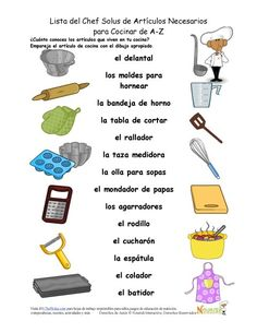 1000 images about vocabulario vocabulary spanish course - Utensilios de chef ...