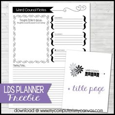 FREE Printable Ward Council Notes page - great addition for your RS, YW or Primary Planner from My Computer is My Canvas, Presidency Planner Pages, FREEBIE #mycomputerismycanvas