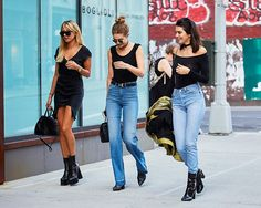 Kendall, Gigi, and Hailey Wore the 3 Black Ankle Boot Styles We Need via @WhoWhatWear