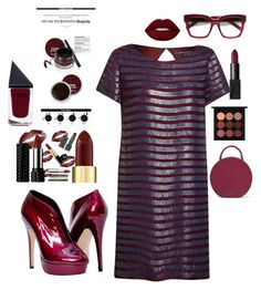 """""""Burgundy Beauty"""" by kotnourka ❤ liked on Polyvore featuring French Connection, Lime Crime, GUiSHEM, Mansur Gavriel, Yves Saint Laurent, NARS Cosmetics and MAC Cosmetics"""