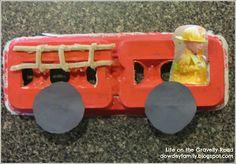 Firetruck from an egg carton craft....Letter F activities. | www.dowdeyfamily.blogspot.com