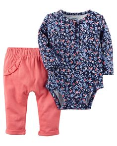 Baby Girl 2-Piece Bodysuit Pant Set | Carters.com