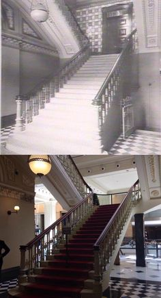 Main staircase at Sydney Martin Place and [circa 1900 - State Library - Phil Harvey. By Phil Harvey] Phil Harvey, Sydney City, Historical Images, Hyde Park, Continents, Old Photos, Empire, Past, Nostalgia