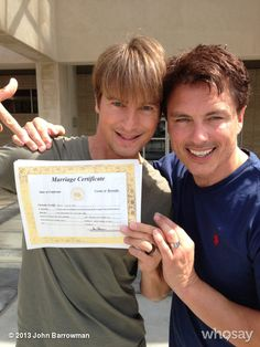 John Barrowman -- CAPTAIN  JACK  HARKNESS! -- is MARRIED!  Congrats, John and Scott!  (This makes my little heart squishy.  They've been together for 20 years!)