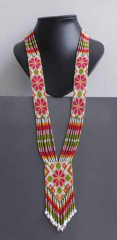 Ethnic beaded necklace flower design beadwoven by Anabel27shop, $70.00