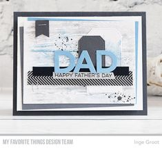 Stamps: All About Dad, Wood Plank Background, Distressed Patterns Die-namics: Dad, Rectangle STAX Set 2, Stitched Traditional Tags  Inge Groot   #mftstamps