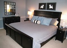 Black Bedroom Furniture Via Decorating Obsessed --- fabulous dog silhouettes above the bed.