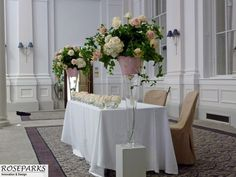 Wedding ceremony table at magnificent Kings Hall - http://www.thegeorgehoteledinburgh.co.uk/