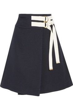 Marni - Canvas-trimmed Twill Wrap Skirt - Midnight blue - IT48