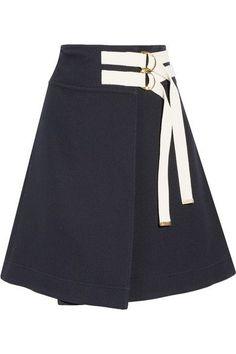 Marni - Canvas-trimmed Twill Wrap Skirt - Midnight blue - IT48