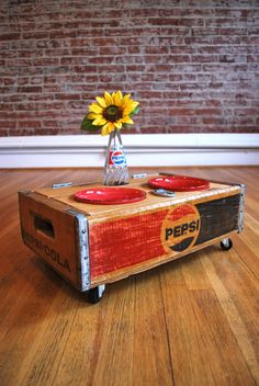 Pet bowls and glass bottle set in Pepsi crate - have you seen our Pepsi Crates? They're only £35 each!