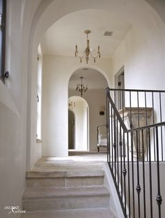 italian wrought iron staircase with stone stairs and foyer - Bing images Iron Staircase, Iron Stair Railing, Wrought Iron Stairs, Staircase Ideas, Interior Stairs, Home Interior, Stone Stairs, Wood Chandelier, Stone Flooring