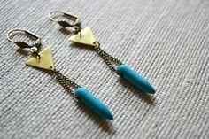 Turquoise Spike Earrings Gold Brass Geometric by Boholysm on Etsy