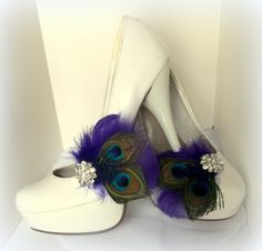 Bridal+Shoe+Clips+++Peacock+Shoe+Clips+Purple+by+ShoeClipsOnly,+$38.00