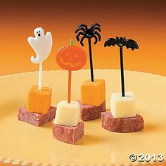 skewers with tiny halloween flag on top more layers in a cello bag