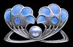 Jugendstil Brooch  Silver Enamel Pearl  Marks: ''HL' monogram, '900' & 'Depose'  German, c.1900
