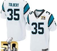 Nike Panthers #35 Mike Tolbert White Super Bowl 50 Men's Stitched NFL Elite…