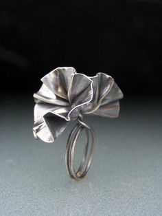 Cynthia Del Giudice - flower ring - fold formed, constructed sterling silver, patina
