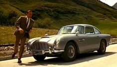 """""""Goldfinger"""" 1963 Aston Martin The greatest James Bond car is fitted by Q with """"modifications"""" for this 1964 movie. The standard against which all spy, movie and TV cars are judged. Car Photos, Car Pictures, Car Pics, James Bond Cars, Dominic Toretto, Aston Martin Db5, Classic Sports Cars, Classic Cars, Classic Tv"""