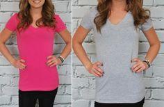 Extra Long V-Neck Shirts - 16 Colors! $5.99