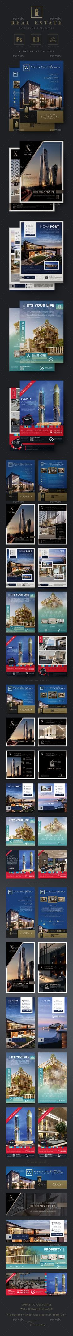#Real Estate #Flyer Bundle Templates - Flyers Print Templates