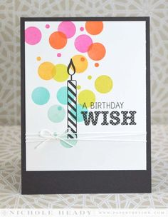 Polka Dot Birthday Wish Card by Nichole Heady for Papertrey Ink (January 2014)
