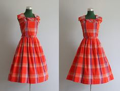 1950s sundress in bold red plaid