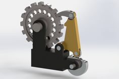 Cam-operated Ratchet Pawl gif animation, animated gif, how cam operated ratchet pawl mechanism works gif animation, explained, study engineering Mechanical Projects, Mechanical Gears, Mechanical Design, Gift Animation, Velo Design, Marble Machine, Prusa I3, 3d Cad Models, Kinetic Art