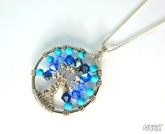 #Sterling,  #silver,  #tree of life, #blue, #pendant, #necklace, #jewellery, #Swarovski, #crystal, #beads, #turquoise