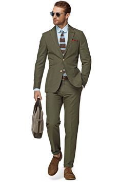 olive green colored suit cut from a lightweight cotton-linen blend. £299. suitsupply.com