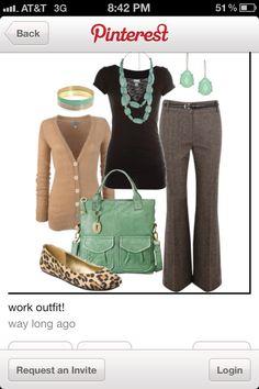 brown, tan, and aqua. cardigan, my best friend  when it comes to my teacher attire.