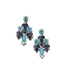 PAIR OF SAPPHIRE, TURQUOISE AND DIAMOND PENDENT EAR CLIPS, BULGARI, 1960S. Each of chandelier design set with pear-shaped sapphires, polished turquoise, and circular-cut diamonds, signed Bulgari.