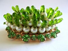 Pearl Green Poured Glass DENICOLA Brooch, Rhinestones, Sea Urchin, Protrusions, Signed Vintage