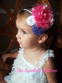 Pink and Purple Shimmer Flower Headband with Hand Knit Rosettes - The Scarlett Willow  https://www.etsy.com/listing/103414940/princess-inspired-shimmer-flower