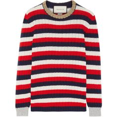 Gucci Metallic-trimmed striped wool and cashmere-blend sweater ($830) ❤ liked on Polyvore featuring tops, sweaters, gucci, my clothe, red, multi color striped sweater, stripe sweaters, metallic sweater, ribbed sweater and multi colored striped sweater