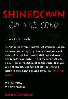 Cut The Cord.... Amen! im obsessed with this song!