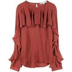 Veronica Beard Mia Silk Top (8,285 MXN) ❤ liked on Polyvore featuring tops, purple, purple silk top, purple top, veronica beard, silk top and red silk top