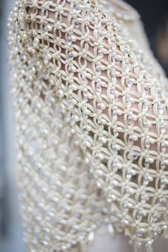 """""""Chanel Spring 2016 Stitch"""", """"Backstage With Kevin Tachman at the Paris Couture Spring 2016 Shows - Vogue"""", """"hautekills: """" Chanel haute couture s/s photographed by Kevin Tachman """""""", """"Chanel Spring 2016 - Solomon Crochet Bolero, Col Crochet, Free Crochet, Couture Details, Fashion Details, Chanel Spring 2016, Chanel Couture, Fabric Manipulation, Crochet Fashion"""