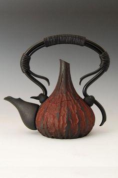 'Late Havest Blend' teapot - black cherry, acrylic paint, rolled steel, leather cord, ebony - 2011 Niche Award winner by John Goodyear, Newfoundland, Canada