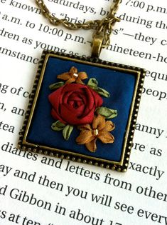 Blue and Red Beaded Embroidered Pendant Necklace by BeanTown Embroidery, Perfect mothers day gift