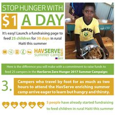Thanks to you, HavServe is able to feed summer campers two nutritious meals a day for each of the 30 days of its Annual Summer camp in rural Haiti. #hunger #education #HungerHeroes #SolveChildHunger #feeding #zerohunger #nohunger #FoodShare #InvestinKids #dogood #fundraising #nonprofit #philanthropy #volunteer #food #HavServe #ZeroHungerChallenge #FortheKids
