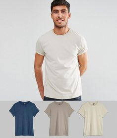 ASOS T-Shirt With Roll Sleeve 3 Pack SAVE - Multi